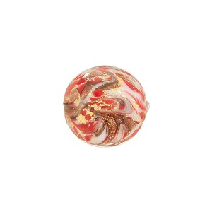 Red Marbled Murano Glass Disc, Gold Foil, 14mm