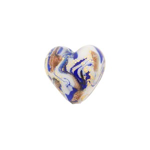 Cobalt Marbled Murano Glass Heart, Gold Foil, 13mm