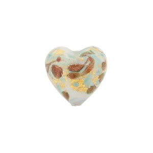 Turquoise Marbled Murano Glass Heart, Gold Foil, 13mm