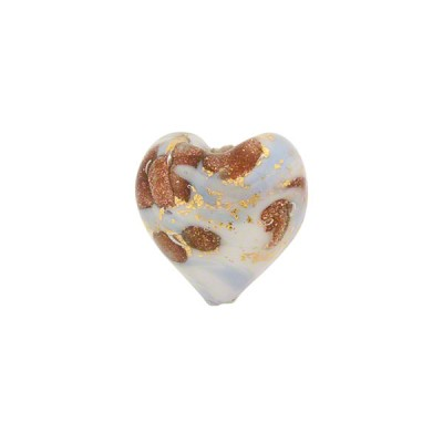 Blue Marbled Murano Glass Heart, Gold Foil, 13mm