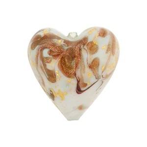Light Celeste Marmo Murano Glass Bead, 20mm Heart w/24kt Gold Foil