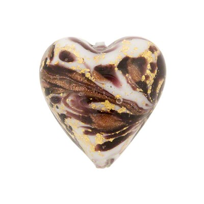 Chocolate Marmo Murano Glass Bead, Heart, 20mm