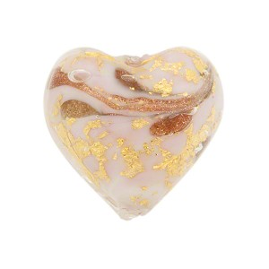 Pale Rose Marbled Murano Glass Heart, Gold Foil, 20mm