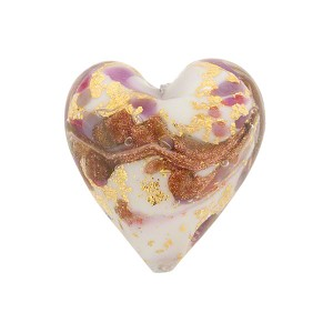 Viola Marmo Murano Glass Bead, Heart, 20mm Gold Foil and Aventurina