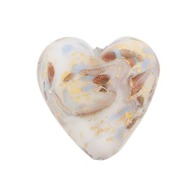 Light Blue Marmo Murano Glass Bead, 20mm Heart, Gold and Aventurina