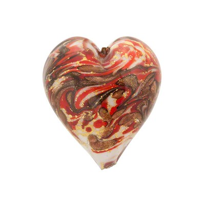 Red Marmo Murano Glass Bead, 20mm Heart w/24kt Gold Foil and Aventurina