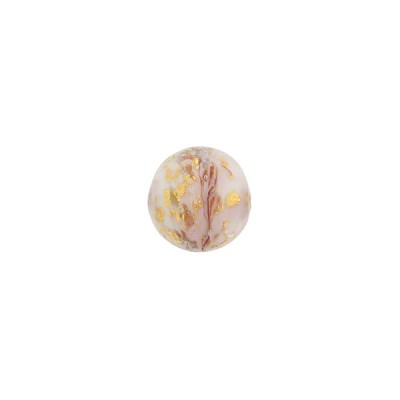 Pink Marbled Murano Glass Round, Gold Foil, 8mm