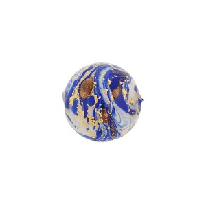 Cobalt Blue Marbled Murano Glass Round, Gold Foil, 12mm