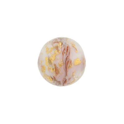 Pink Marbled Murano Glass Round, Gold Foil, 12mm