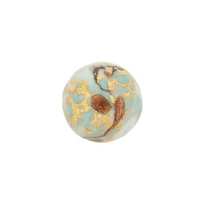 Turquoise Marbled Murano Glass Round, Gold Foil, 12mm