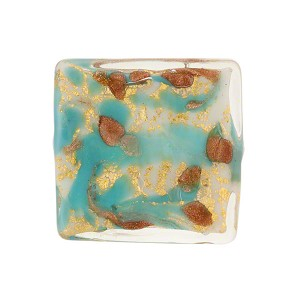 Turquoise Marbled Murano Glass Square, Gold Foil, 20mm