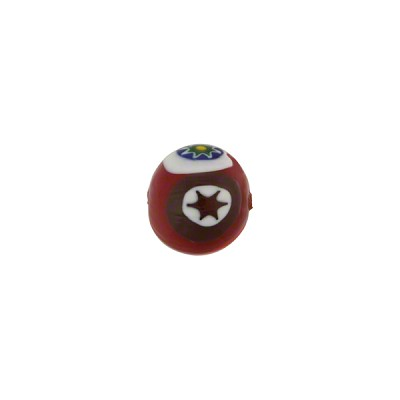 Red Murano Glass Round Bead with Multi Colored Mosaico Designs, 8mm