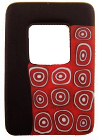 Red/White Circles Millefiori Black Rectangle Pendant 50mm