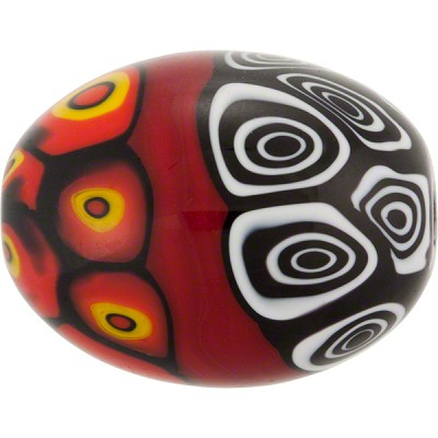 Mosaic Patterned Murano Glass Bead, 30mm x 25mm Oval, Red & Black