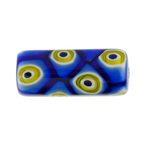 Blue Abstract Millefiori Tubes 24X8MM