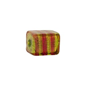 Pink and Green Stripe Missoni Cube 14x11mm Murano Glass Bead