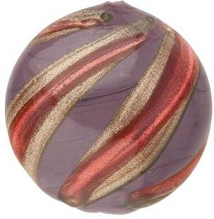 Murano Glass Bead Viola, Rubino Missoni Round 18mm
