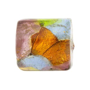 Murano Glass Square Bead, Multi-Colored Patchwork Pattern, Silver Foil, 20mm