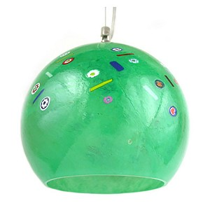 Murano Glass Green with Millefiori Round Venetian Glass Hanging Lamp