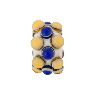 Lampwork Murano Glass Bead, 3 Row Blue & Topaz Dots