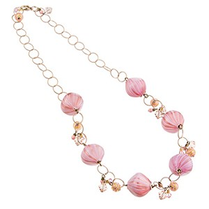 Murano Glass Blown Pink Fantasy Baubles Necklace, One of a Kind