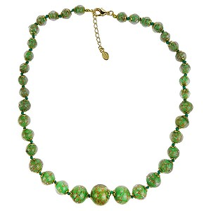 Opaque Green with Aventurina Authentic Murano Glass Beaded Necklace 18 Inches, 1 1/4 Inch Extender, Gold Tone Clasp and Murano Tag