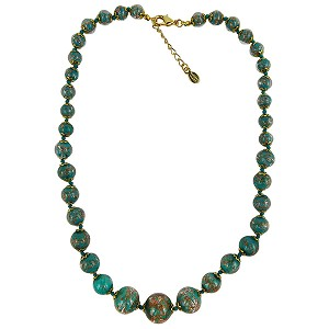Verde Petrolio with Aventurina Authentic Murano Glass Beaded Necklace 18 Inches, 1 1/4 Inch Extender, Gold Tone Clasp and Murano Tag