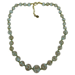 Pale Aqua with Aventurina Authentic Murano Glass Beaded Necklace 18 Inches, 1 1/4 Inch Extender, Gold Tone Clasp and Murano Tag