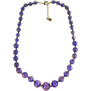 Cobalt Blue with Aventurina Authentic Murano Glass Beaded Necklace 18 Inches, 1 1/4 Inch Extender, Gold Tone Clasp and Murano Tag