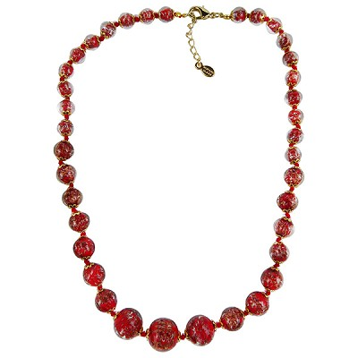 Red with Aventurina Authentic Murano Glass Beaded Necklace 18 Inches, 1 1/4 Inch Extender, Silver Tone Clasp and Murano Tag