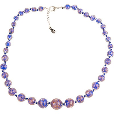 Cobalt Blue with Aventurina Authentic Murano Glass Beaded Necklace 18 Inches, 1 1/4 Inch Extender, Silver Tone Clasp and Murano Tag