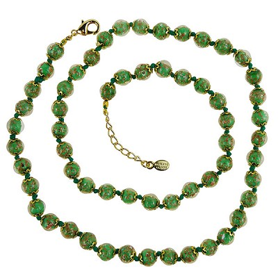 Opaque Green with Aventurina Authentic Murano Glass Beaded Necklace 26 Inches, 1 1/4 Inch Extender, Gold Tone Clasp and Murano Tag