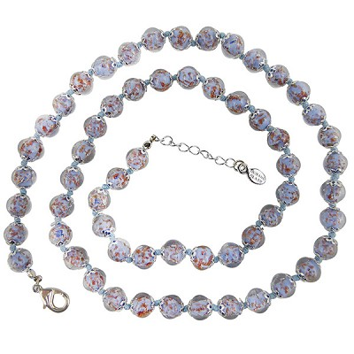Blue with Aventurina Authentic Murano Glass Beaded Necklace 26 Inches, 1 1/4 Inch Extender, Silver Tone Clasp and Murano Tag