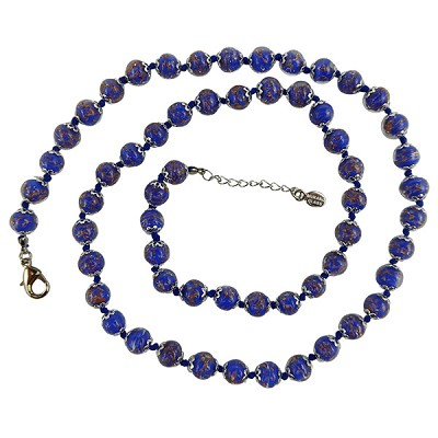 Cobalt Blue with Aventurina Authentic Murano Glass Beaded Necklace 26 Inches, 1 1/4 Inch Extender, Silver Tone Clasp and Murano Tag