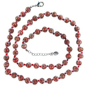 Red with Aventurina Authentic Murano Glass Beaded Necklace 26 Inches, 1 1/4 Inch Extender, Silver Tone Clasp and Murano Tag