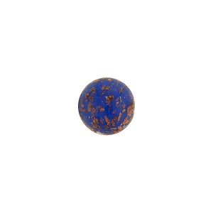 Cobalt Blue Sommerso Style Murano Glass with Aventurina Round Bead, 8mm