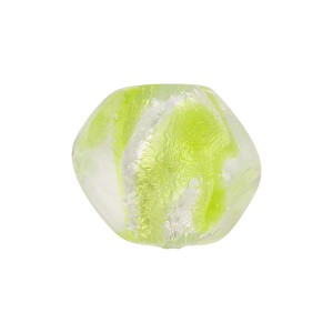 Venetian Bead ZigZag Pebble 15mm, Verde