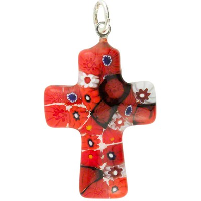 Red Daisies Cross Pendant