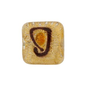 Murano Glass Bead Picasso Square 15mm Gold Foil, Topaz