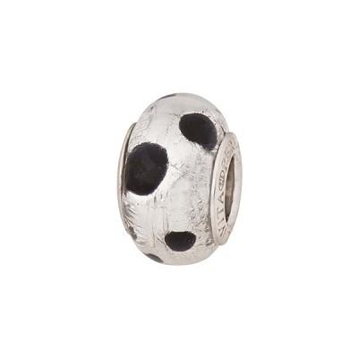 bec1e1029 PerlaVita Puntini Murano Glass Rondel, Black Dots & Silver, 5mm Hole,  Sterling