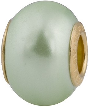 50% Off! Lt Green Painted Bead Vermeil Insert