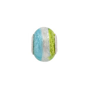 Tri Color Herb/Aqua Silver Foil Sterling Insert Rondel 14mm Murano Glass Bead