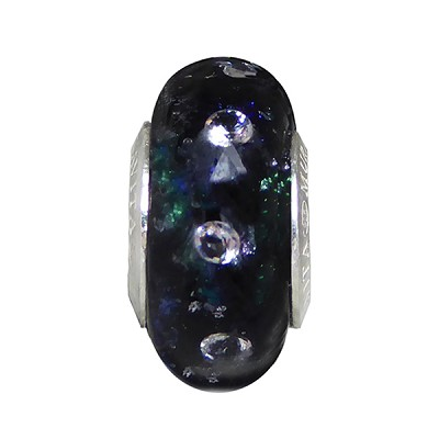 Cubic Zirconia and Black Silver Sparkler Dichroic Murano Glass Rondel Sterling Insert