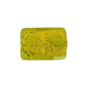 Gold Rectangle 14mm Peridot, Murano Glass Bead
