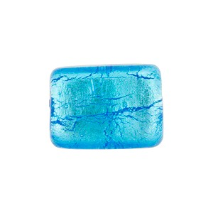 Silver Foil Rectangle 14mm Aqua, Murano Glass Bead
