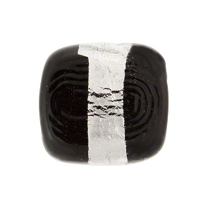 Black Incalmo Rectangles Silver Foil Band 18mm Murano Glass Bead