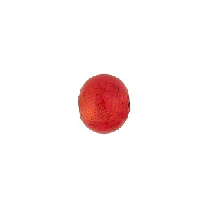 Orange 8mm Gold Foil Round Murano Glass Bead