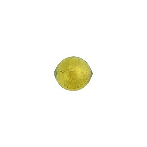 Peridot  Green 8mm Gold Foil Round Murano Glass Bead