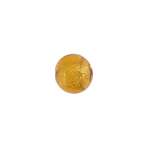 Light Topaz 8mm Gold Foil Round Murano Glass Bead