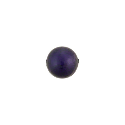 8mm Round Blu Inchiostro over White Gold Foil Murano Glass Bead